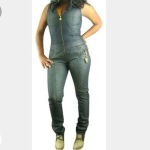 Dereon VIP denim jumpsuit with embroidery size 1X